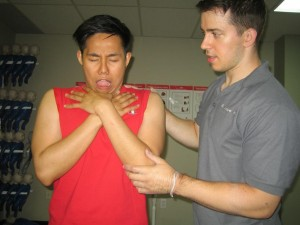 Encouraging a choking person to cough